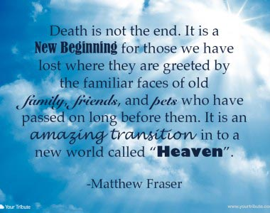 Matthew Fraser: Death is not the end…